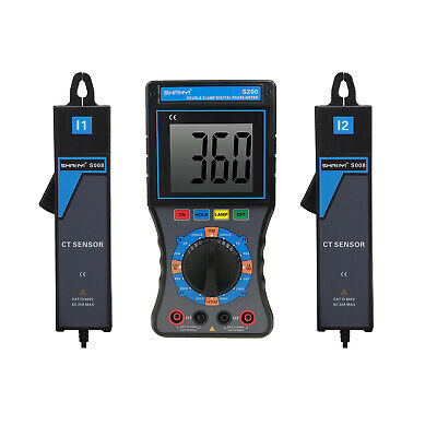SHANYI S200 Double Clamps Digital Phase Volt Ampere Meter New