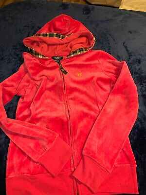 Chaps hot pink zip up hoodie girls med (8-10) great condition