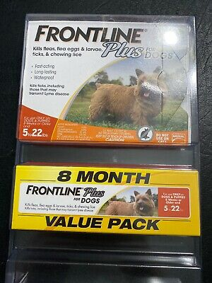 Frontline Plus Flea And Tick Control For Dogs 5-22 Lb 8 Month Supply  New