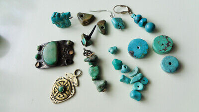 Lg Lot Vtg Antique Real Turquoise Beads American Harvey Era Buckle Chinese