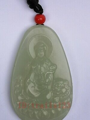 Collection Old China Xinjiang Jade Carving Lion Avalokitesvara Pendant Antique
