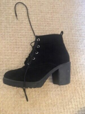 """Ladies Ankle Boots 4"""" Heel Black Lace-Up Uk4"""