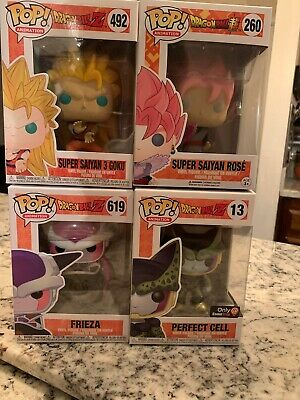 funko pop dragon ball z Lot- SS3 Goku, SS Rose, Frieza, Perfect Cell Exclusive