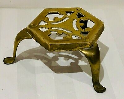 Antique Brass Trivet Kettle / Pot Stand