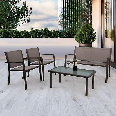 4 Pcs Seat Outdoor Table and Chairs Set Glass Table Garden Patio Furniture Brown