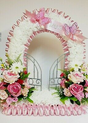 Gates of Heaven Artificial Silk Funeral Flower Wreath  Floral Tribute Memorial