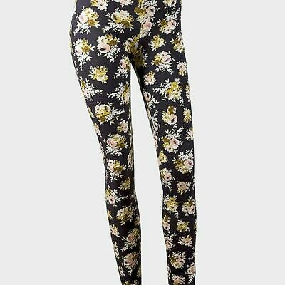 Yellow Floral Cotton Leggings - teens XS