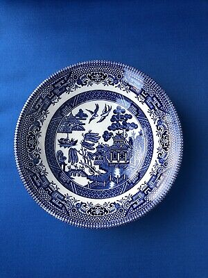Churchill Pottery England Willow Pattern Blue and White Small Cereal Soup Bowl