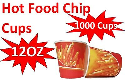 1000x 12oz Chip Cup Hot Food Disposable Takeaway Chips Print Cups New