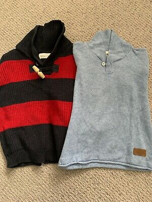 Boys Bundle Jumpers Red Blue Stripe And Light Blue Age 4-5 Zara Next