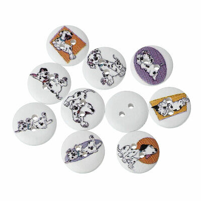 SALE 75 Mixed Dalmation Dog Design White Wooden Buttons