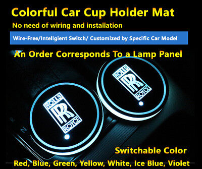 2pcs Colorful LED Coaster Atmosphere Car Light Bulbs For Rolls-Royce Neon Lights