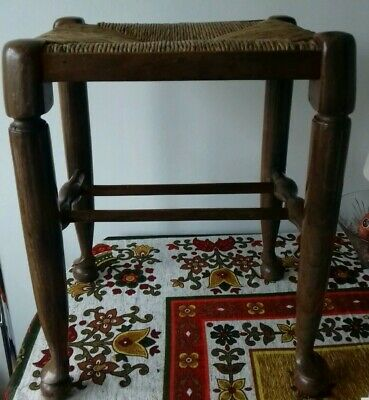 Wooden Rectangular Stool With Rush Top And Turned Legs, Good Condition