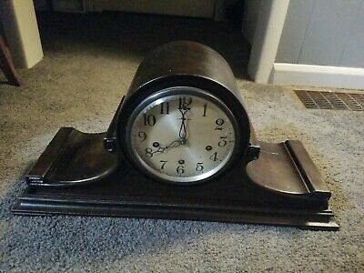 Antique New Haven Clock Co Tambour  Mantel Mantle, Working Westminster chime