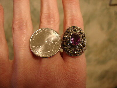 Vintage Rare Art Deco Marcasite 12gr Sterling Silver 925 Amethyst Ring sz 8.5