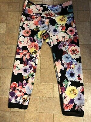 Old Navy Active Go Dry Capri Length Workout Pants-Floral-Large