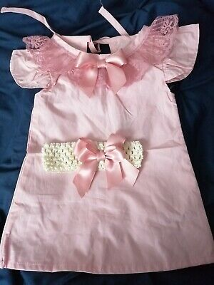 Baby Girls Blush Pink Fly Sleeve Lace And Bow Dress Headband  Spanish 3-6 Mths