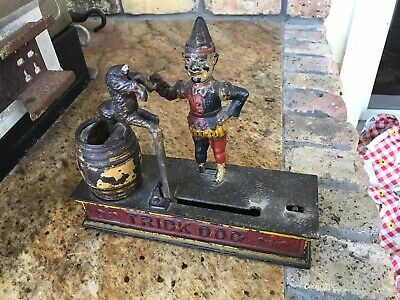 Original Paint Antique 1920s Cast Iron, Trick Dog, Mechanical Bank