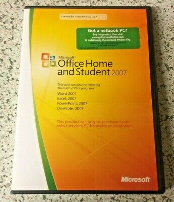 Genuine Microsoft Office Home And Student 2007 + Product Key - FREE UK POSTAGE