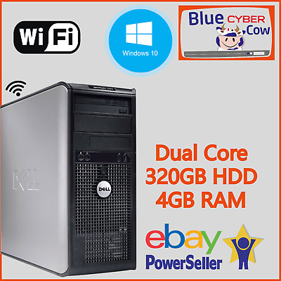 Cheap Fast Windows 10 HP DELL CORE 2 DUO PC Computer 4GB RAM 320GB HDD WiFi