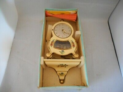 Vintage Original Boxed SCHATZ Celluloid Mantel Clock & Shelf 400 Days
