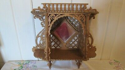 Fretwork Folk Art Shelves Beveled Mirror Cut Out Wood Ornate Vintage Antique