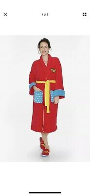 Wonder Woman Womens Fleece Super Hero Adult Dressing Bath Gown Bath Robe RETRO