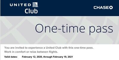 Two (2) United Airlines Club Lounge One-Time Passes EXPIRES Feb 19 2021