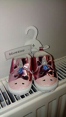New Bluezoo Pink Baby Girl Pre Walker Glittery Unicorn Shoes Size 3-6 Months