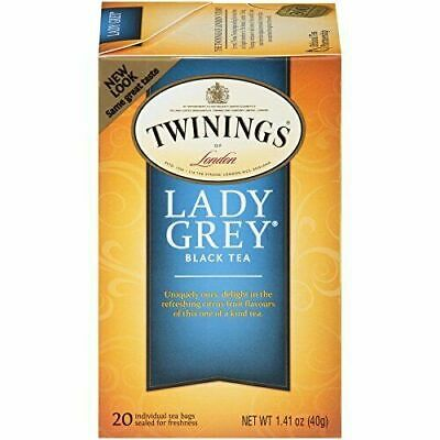 Twinings of London Lady Grey Black Tea Bags, 20 Count (Pack of 6)