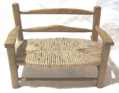 Vintage Straw Seat Wood Doll Bench for Antique or Vintage Doll