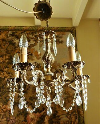 Vintage French Rococo Brass & Crystal chandelier ceiling light * Shabby chic