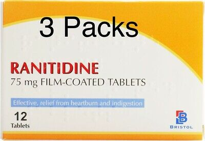 Ranitidine 75mg - 12x3 Tablets, Expiry 06/2020