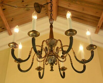 Vintage 1940s Flemish Chandelier 8 arm Ceiling light ~ Art Deco Chic