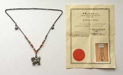 Antique Chinese Necklace + Certificate. Silver, Coral, Turquoise, Enamel.foo Dog