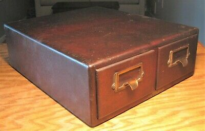 Antique Yawman Erbe two-drawer library index file cabinet, dovetailed, mahogany