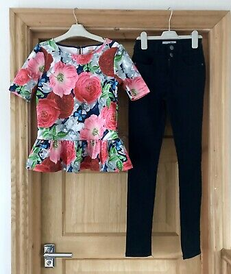 TED BAKER NEW LOOK 11y GIRLS PINK FLORAL TOP & JEANS OUTFIT AGE 11 YEARS 11-12y