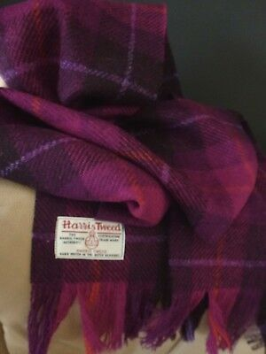 Harris Tweed Scarf Dark Purple Aubergine Pink Check Orange Lilac Fuchsia Rich