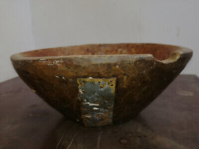 Antique Primitive Old Wood Wooden Hand Carved Patina Rustic Bowl Cup Plate 19th