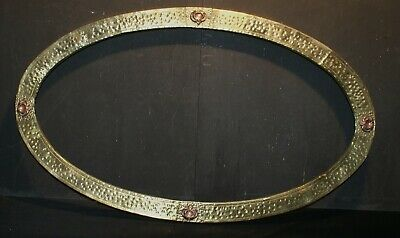 A Fabulous Arts & Crafts Hammered Brass Wall Mirror or Picture Frame