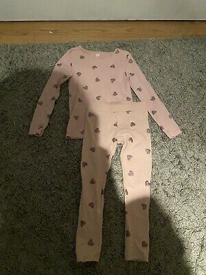 Girls Pink Sparkly Heart H&M Top And Leggings Set Outfit - Age 4-5 Years
