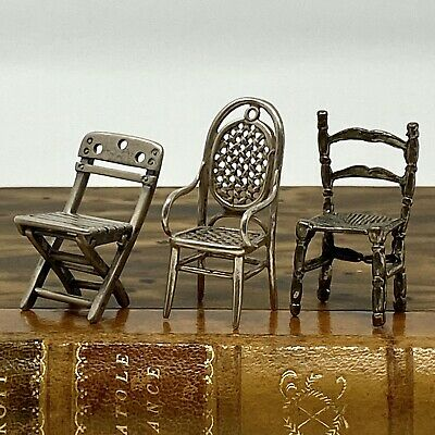 Set/3 Antique Germany 800 Silver Miniature Chairs