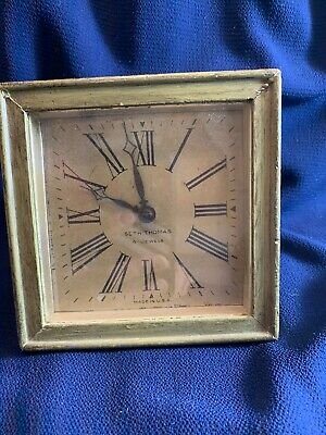 Vintage The Uberti Co. Seth Thomas Small Wooden Clock 4-Jewels NOT WORKING