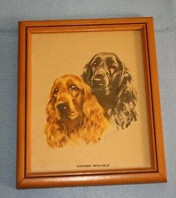 """VINTAGE 1940 DOG PRINT- COCKER SPANIELS--""""repouse"""" type SURFACE--FREE SHIPPING!"""