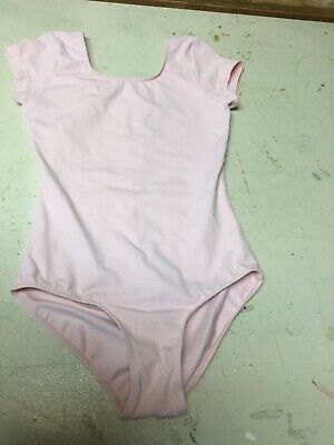 Bloch Girls Size 12 short sleeve scoop neck Ballet Leotard dance Soft Pink EUC
