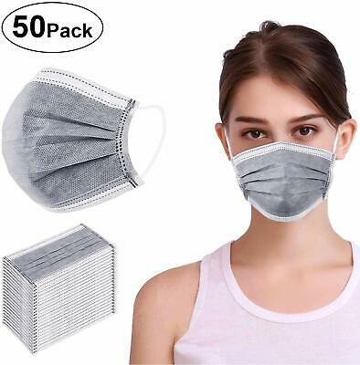 50 Disposable Earloop Medical Surgical 4 Layer Activated Carbon Filter Face Mask