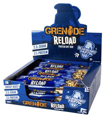 Grenade Reload Protein Oat Bar X12 NEW! Blueberry Muffin