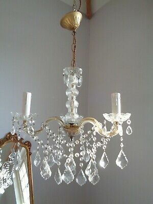 ~ pretty vintage french 3 arm ~ glass clad ~ crystal chandelier ~