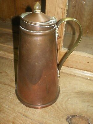 WAS Benson Arts and Crafts Enamel Lined Insulated Copper Jug with Brass Features