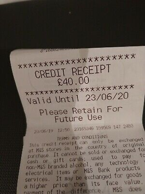 Marks And Spencer M&S Credit Voucher £40 Expires 23/6/20